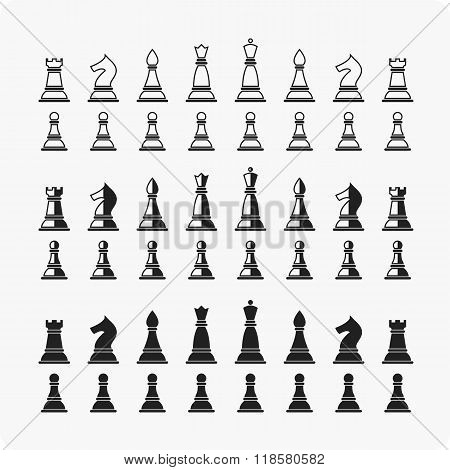Vector illustration of all chess pieces.