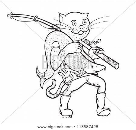 Cat Fisherman. Linear Figure