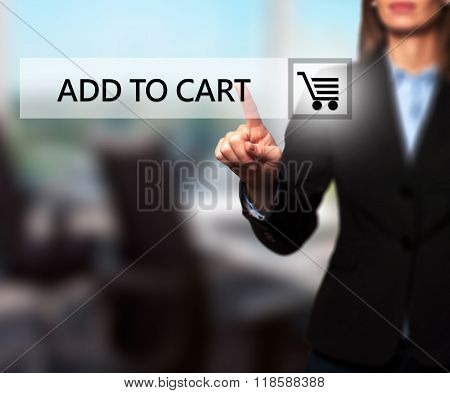 Businesswoman Pressing Add To Cart Button On Virtual Screens