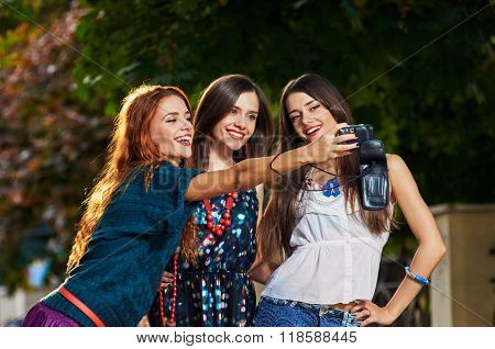 Girls making selfie