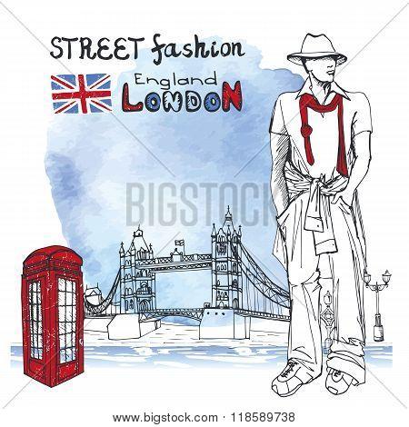 London dude men.Street fashion.Watercolor splash background