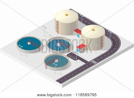 Water treatment isometric building infographic, big bacterium purifier on white. Illustration for scientific article web blog and presentation. Pictogram industrial chemistry cleaner set. Flatten isolated illustration master vector. poster