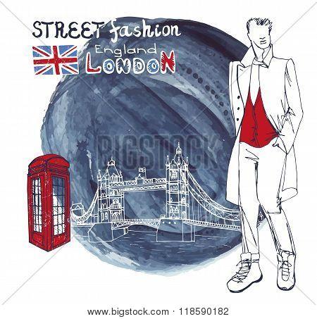 London Fashion dude men.Watercolor ink splash