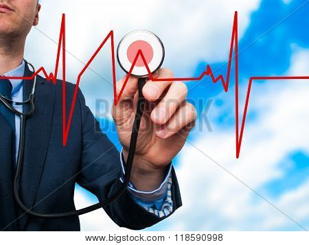 Closeup Portrait Handsome Business Man, Male Corporate Employee, Worker Listening To  Heart Beat Wit