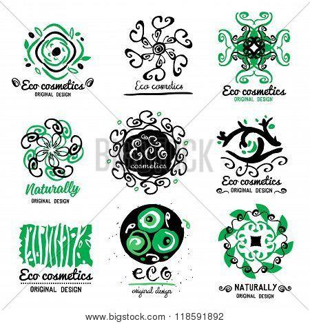 ECO cosmetics logo. Ornament handmade ECO-Logo. Natural cleansers, cosmetics.