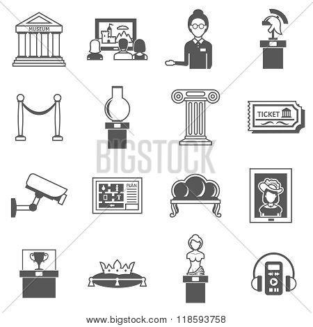 Museum Decorative Black Icons Set