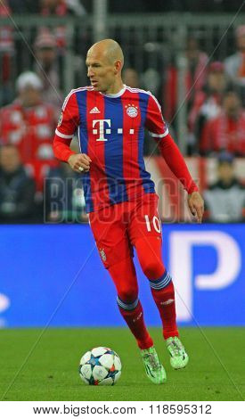 MUNICH, GERMANY - MARCH 11 2015: Bayern Munich's forward Arjen Robben during the UEFA Champions League match between Bayern Munich and FC Shakhtar Donetsk.