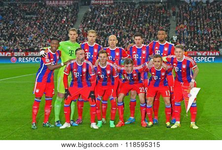 MUNICH, GERMANY - MARCH 11 2015:  Bayern Munich team for the UEFA Champions League match between Bayern Munich and FC Shakhtar Donetsk.