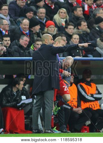 MUNICH, GERMANY - MARCH 11 2015: Bayern Munich's manager Josep Guardiola during the UEFA Champions League match between Bayern Munich and FC Shakhtar Donetsk.