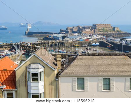 View Of Harbor Saint Peter Port. Bailiwick Of Guernsey, Channel Islands