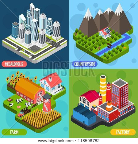 Locations 4 isometric Icons Square