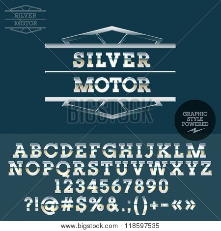 Retro silver logo for motorbike bar. Vector set of letters, numbers and symbols.
