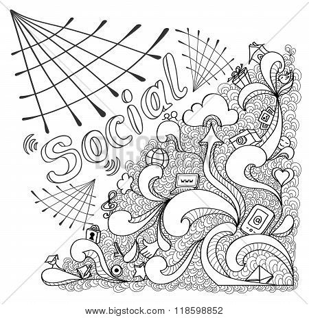 Social webs in doodle style on white for website banners and other things or for coloring page