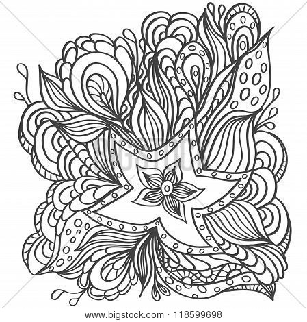 Background with doodle starfishes seaweeds or  template for underwater world  or for coloring page