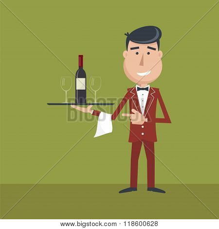 Waiter With Wine Bottle And Wineglass.