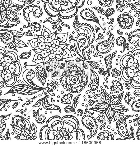Floral Seamless abstract floral pattern with flowers, petals, leaves, seeds, plants  in black white