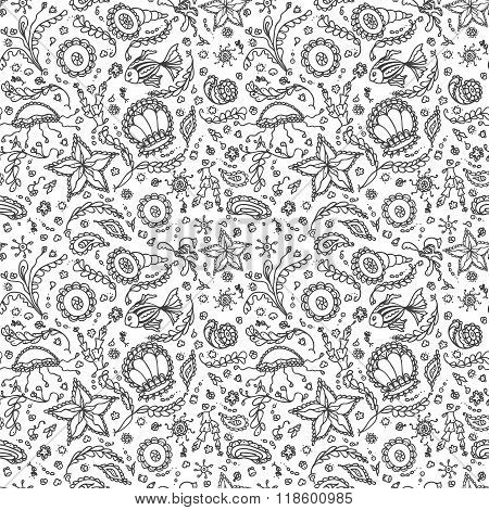Marine Word Handmade seamless pattern or background with abstract marine world in black white for co