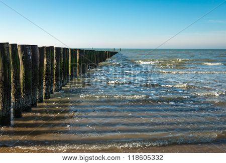 North Sea Breakwater At Low Tide