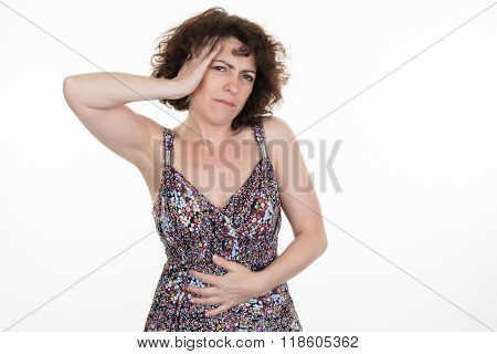 Abdominal Pain For Woman Isolated On White