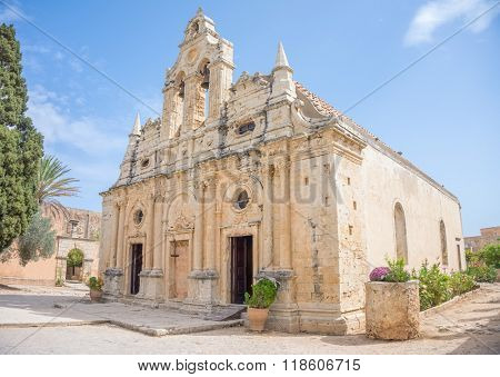Venetian baroque church of the famous Arkadi Monastery at Crete. Greece. It was built in the 16th century and almost destructed in 1866 by the Ottomans. poster