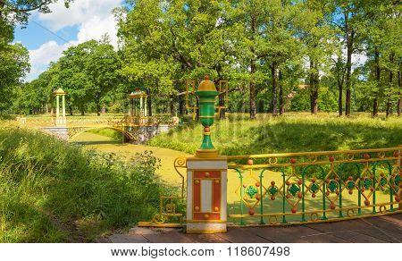 Beautiful bridges in the summer park