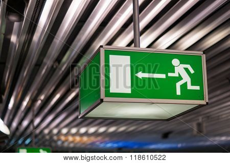 Airport emergency exit sign