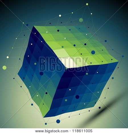 Colorful 3D Vector Abstract Design Template, Squared Complicated Figure With Lines Mesh Placed Over