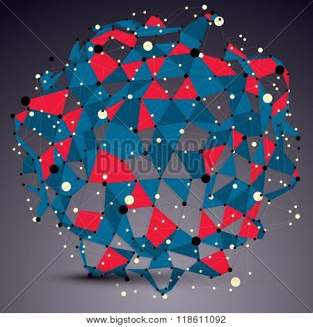 3D Mesh Contemporary Technology Abstract Object, Lattice Colorful Vector Futuristic Form With Wire M
