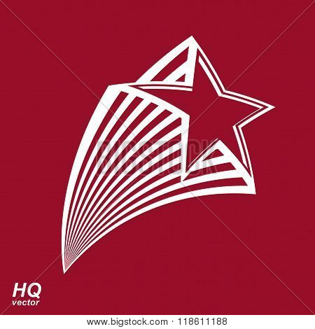 Astronomy Conceptual Illustration, Pentagonal Comet Star - Celestial Object With Decorative Comet Ta