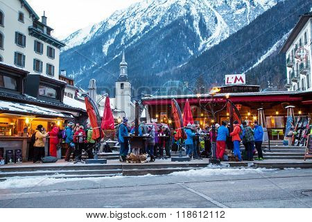 Outdoor Bar during Happy hour in Chamonix town, French Alps, France