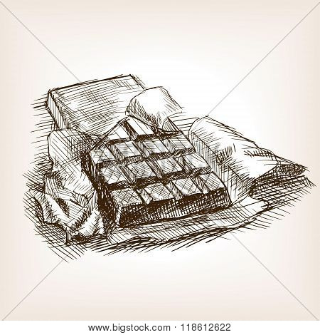 Bar of chocolate hand drawn sketch style vector