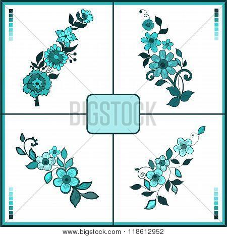 Flower Set. Vector Eps10.