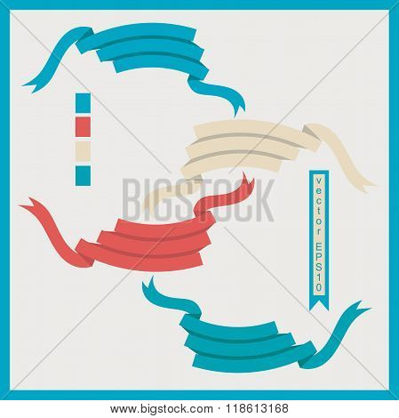 Set of vector ribbons for lettering in retro style. Four kinds of colors for your choises.