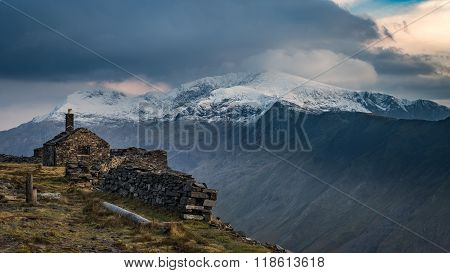 Snowy Snowdon from the Dinorwig slate mines.