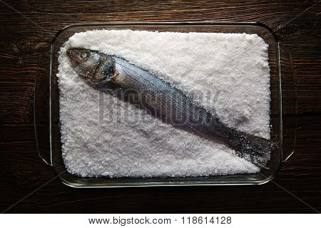 Seabass baked in sea salt sea bass crusted from Mediterranean lubina