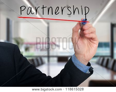 Business Man Writing Partnership Concept
