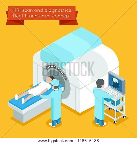 MRI process. 3d isometric health and care vector concept