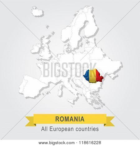Romania. Europe administrative map. European Union. Flag version. poster