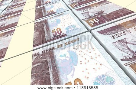 Egyptian pounds bills stacks background. Computer generated 3D photo rendering.
