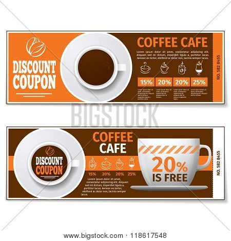 Coffee discount coupon or gift voucher. Vector template