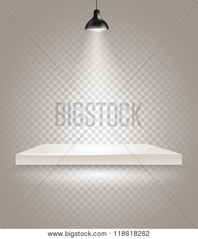 Bright stage with the lamp. Transparent background