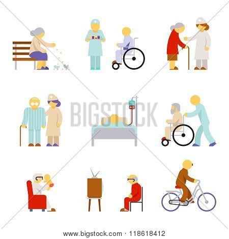 Senior health care service icons