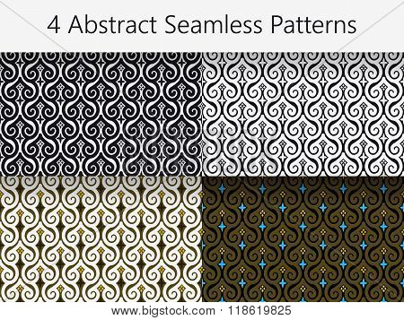 Set Of 4 Abstract Vintage Seamless Patterns