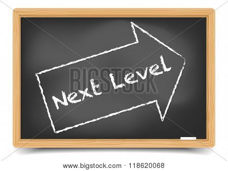 detailed illustration of a blackboard with Next Level text in a drawn arrow, eps10 vector, gradient mesh included
