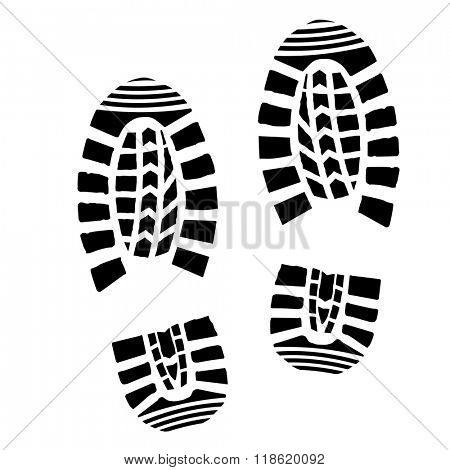 detailed illustration of simple shoe prints, eps10 vector