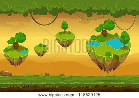 Horizontal seamless cartoon fantastic forest landscape