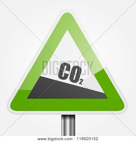 detailed illustration of a green downhill grade sign with co2 text, symbol for decreasing co2 output, eps10 vector