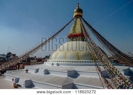 Stupa in Boudhanath Stupa (Bodnath Stupa) temple in Kathmandu Nepal. The largest stupa in Nepal.