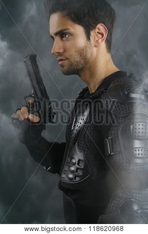 Super cops- handsome brown man holding a gun