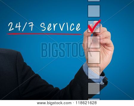 Businessman Checking 24/7 Service